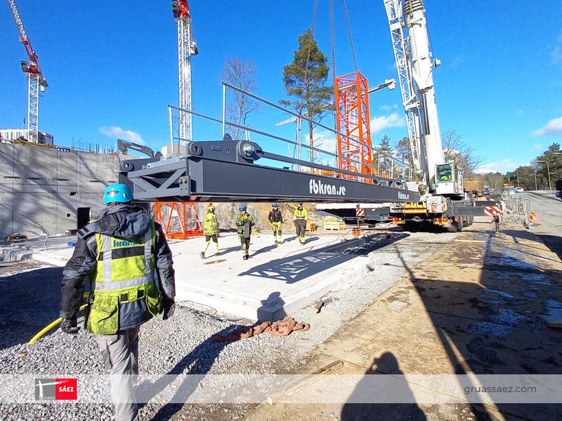 Instalación de grúa Sáez Flat-Top TLS 80 20T en Suecia