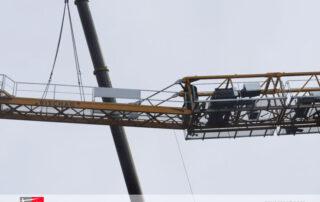 Montaje de la grúa TLS 75 14T SR de Grúas Sáez en Suiza